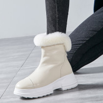 Fashion add wool upset women's shoes in winter 2019 zipper exy elegant ladies boots black leather concise mature office lady