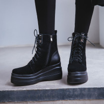 Fashion comfortable classics women's shoes winter 2019 round toe cross tied lacing up platform leisure wedges matin boots 8cm