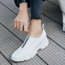 Fashion leisure women's shoes 2019 zipper pointed toe genuine leather zipper sneaks shallow comfortable white black casual shoes
