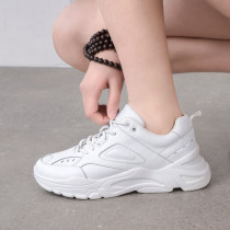 Fashion comfortable white women's shoes 2019 spring lace up platform sneakers genuine leather leisure casual shoes