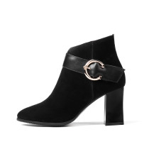 Fashion women's shoes winter 2019 pointed toe zipper chunky heels ankle boots ladies boots black suede large size small size 31 32