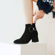 Fashion women's shoes winter 2019 sexy elegant ladies boots knee high boots chains zipper black pointed toe large size 41 42 43