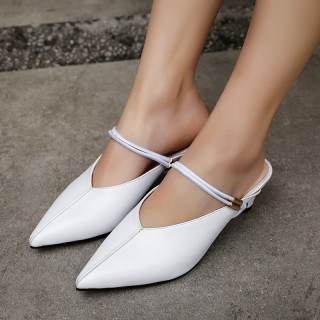 Summer 2019 fashion trend women's shoes pointed toe elegant mature office lady sandals party shoes big size 42 white black