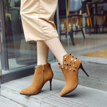 Fashion women's shoes in winter 2019 pointed toe stilettos heels short boots matte mature rivet khaki office lady classics