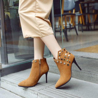 Fashion women's shoes in winter 2019 pointed toe stilettos heels short boots matte mature rivet khaki office lady classics