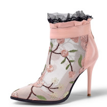 Summer 2019 fashion trend women's shoes pointed toe stilettos heels zipper short boots cool boots lace flower embroidery