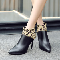 Fashion leopard print gray winter 2019 pointed toe stilettos heels zipper sexy short boots mixed colors concise mature