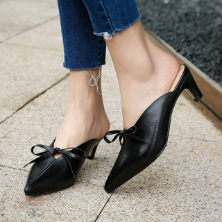 Summer 2019 fashion trend women's shoes pointed toe big size 42 stilettos heels khaki butterfly-knot pure color concise mature