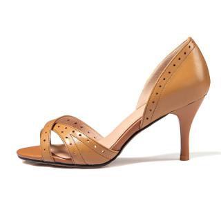 Summer 2019 fashion trend women's shoes peep toe slip-on sandals stilettos heels sweet khaki beige shallow ladylike temperament
