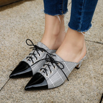 Summer 2019 fashion women's shoes pointed toe white genuine leather stilettos heels cross tied party shoes ladies gingham mules