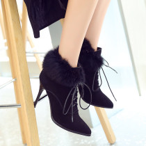 Fashion pointed toe women's shoes winter 2019 cross tied stilettos heels women's boots add fur boots elegant ladies shoes