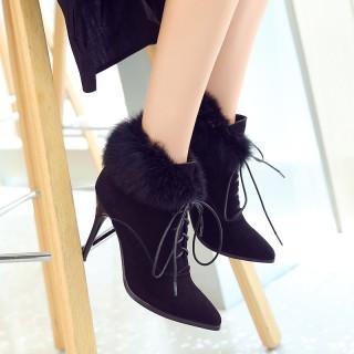 Fashion pointed toe women's shoes winter 2019 cross tied stilettos heels women's boots add fur boots elegant ladies shoes