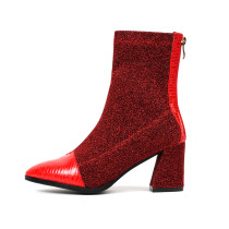 Spring and autumn 2019 fashion women's shoes pointed toe chunky heels red zipper sexy women's party shoes boots short boots