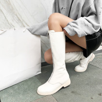 Fashion women's shoes in winter 2019 round toe knee high boots zipper pure color white elegant ladies boots concise mature