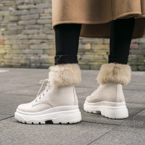 Fashion women's shoes in winter 2019 cross lacing round toe add wool upset short boots leisure matin boots black leather