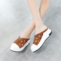 Summer 2019 fashion trend women's shoes round toe flat concise comfortable classics ladylike leisure black khaki temperament