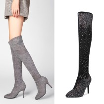 Fashion women's shoes spring atutumn 2019 pointed toe stilettos heels sexy elegant ladies boots grey crystal rhinestone over the knee boots high heels