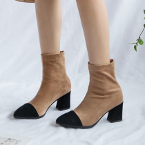 Fashion women's shoes in winter 2019 chunky heels pointed toe short boots caramel slip-on women's boots classics big size 42