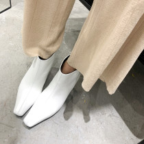 Fashion women's shoes in winter 2019 pointed toe zipper pure color short boots white ladies boots concise mature office lady