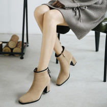 Fashion women's shoes in winter 2019 chunky heels women's boots short boots big size 42 zipper caramel women's boots elegant pure color