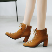 Fashion women's shoes in winter 2019 caramel chunky heels zipper black women's boots short boots party shoes lace up classics