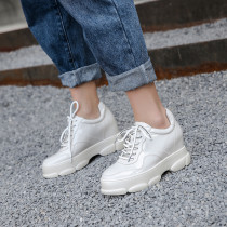 Spring and autumn 2019 fashion women's shoes rice white cross lacing pure color ladylike temperament waterproof casual shoes concise leather
