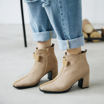 Fashion women's shoes in winter 2019 chunky heels zipper apricot women's boots bowknot butterfly knot concise mature pure color