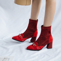 Fashion women's shoes in winter 2019 pointed toe chunky heels slip-on personality party shoes red metal decoration office lady