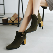 Fashion women's shoes in winter 2019 pointed toe chunky heels army green zipper concise women's boots short boots party shoes