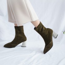 Fashion women's shoes in winter 2019 slip-on women's boots short boots concise chunky heels army green elegant pure color