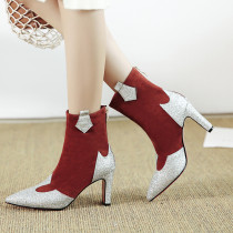 Fashion women's shoes in winter 2019 pointed toe office lady zipper chunky heels big size 42 women's boots short boots red  party shoes