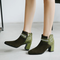Fashion women's shoes in winter 2019 chunky heels zipper women's boots short boots classics crystal rhinestone big size 42