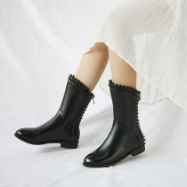 Fashion women's shoes in winter 2019 zipper pointed toe women's boots classics short boots flat boots big size 40 small size 33