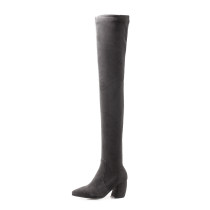 Fashion women's shoes in winter 2019 pointed toe zipper over the knee high boots pure color elegant ladies boots concise mature office lady
