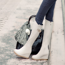 Fashion women's shoes in winter 2019 zipper beige over the knee high boots round toe increase leather elegant ladies boots