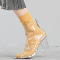 Summer 2019 fashion women's shoes peep toe chunky heels women's boots ladies sandals clear PVC transparent small size 33 40 41 3