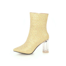 Fashion women's shoes in winter 2019 pointed toe chunky heels elegant gold women's boots short boots small size 32 big size 43