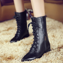 Fashion women's shoes in winter 2019 pointed toe women's boots short boots cross lacing zipper black mature leather concise