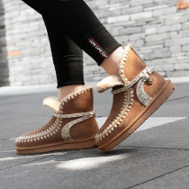 Fashion women's shoes in winter 2019 slip-on add wool upset crystal rhinestone camel snow boots short boots snow boots string bead