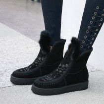 Fashion women's shoes in winter 2019 slip-on add wool upset camel short boots flat boots snow boots leisure mature classics