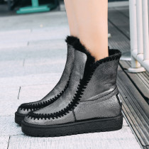 Fashion women's shoes in winter 2019 round toe flat boots black snow boots short boots concise comfortable classics slip-on