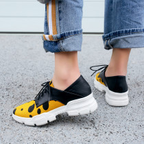 Spring and autumn 2019 fashion women's shoes cross lacing concise casual shoes personality mixed colors ivory big size 40