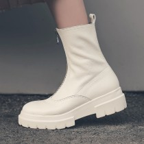 Fashion concise women's shoes in winter 2019 round toe zipper waterproof women's boots beige short boots leather big size 42