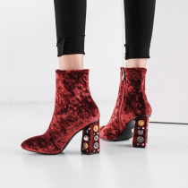 Fashion women's shoes in winter 2019 zipper women's boots short boots burgundy big size 43 golden velvet classics office lady