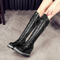 Fashion women's shoes in winter 2019 cross lacing zipper wedges women's boots knee high boots black leather leisure big size 42
