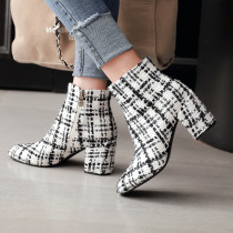 Fashion elegant ladies boots concise women's shoes in winter 2019 zipper chunky heels short boots big size 43 gingham white