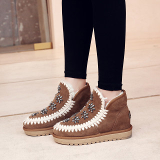 Fashion women's shoes in winter 2019 brick red brown slip-on flat boots short boots add wool upset concise pure color big size 42