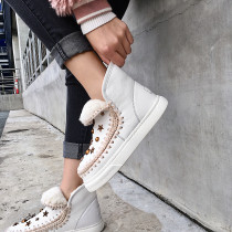 Fashion women's shoes in winter 2019 slip-on add wool upset snow boots short boots snow boots leather concise big size 42
