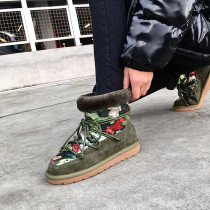 Fashion women's shoes in winter 2019 cross lacing flat boots add wool upset short boots army green sequins big size 43 concise