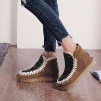 Fashion women's shoes in winter 2019 slip-on snow boots short boots flat boots add wool upset concise mature big size 42